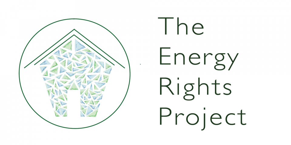 A blue and green sketch of a house in a green circle on a white background. The Energy Rights Project is in green text to the right of the logo.